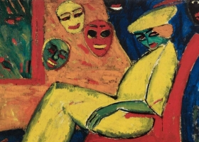 Woman with Masks, Hermann Stenner, 1913 (Photo: Lempertz Auction House. Source: Wikimedia Commons)