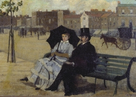 Walter and Alice Greaves on the Embankment, Walter Greaves, c.1880-90 (Courtesy: Tate Britain)