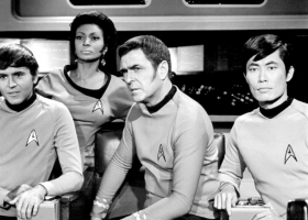Star Trek crew members, 1968, Chekov, Uhura, Scott and Sulu  (Source: Wikimedia Commons)