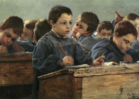 In the Classroom, Jean-Paul Louis Martin des Amoignes, 1886 (Courtesy: Bonhams)