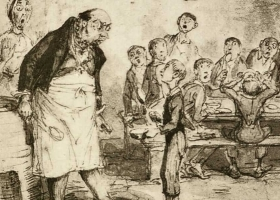 Oliver Asking for More (Charles Dickens 'Oliver Twist'), George Cruikshank, 1837 (Courtesy: . British Library)