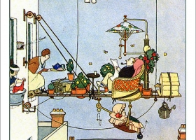 Contraption for the Lazy Father, W. Heath Robinson, 1872 - 1944