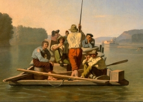 Lighter Relieving a Steamboat Aground, George Caleb Bingham, 1847 (Courtesy: The White House, Washington D.C.)