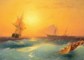 American Shipping off the Rock of Gibraltar, Ivan Aivazovsky, 1873 (Source: Wikimedia Commons)