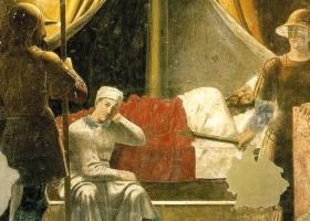 The Dream of Constantine. Piero della Francesca, c. 1452-66 (Fresco, San Francesco, Arezzo, Italy)