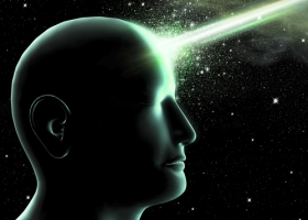 Humanoid with his knowledge of universe on space background